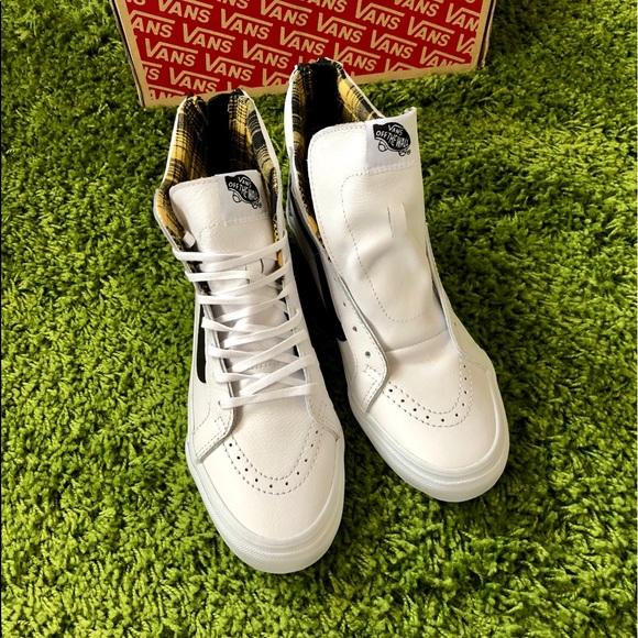 Vans Sk8-Hi Slim Zip Plaid Flannel True White 7c9f44cf5